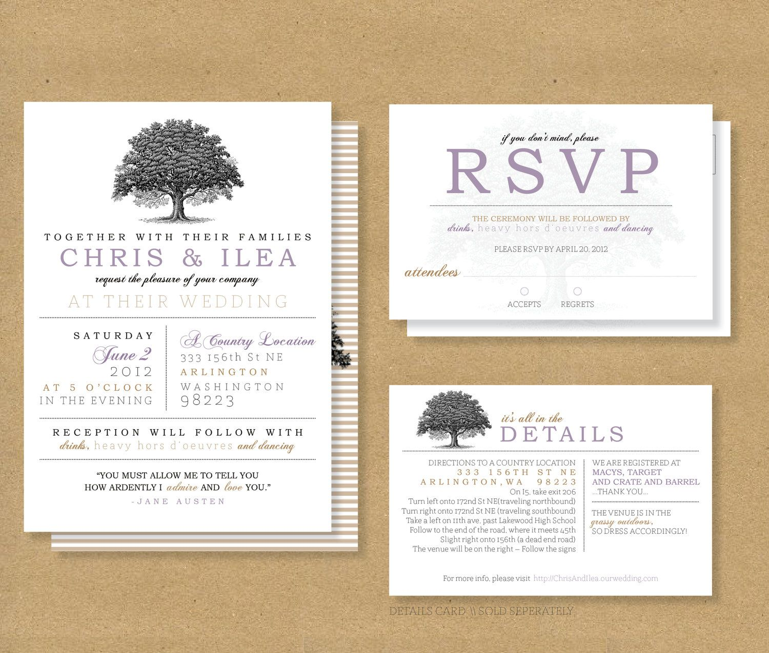 TREE ROOTS Wedding // Invitation And RSVP Card By HENANDCO On Etsy, $20.00