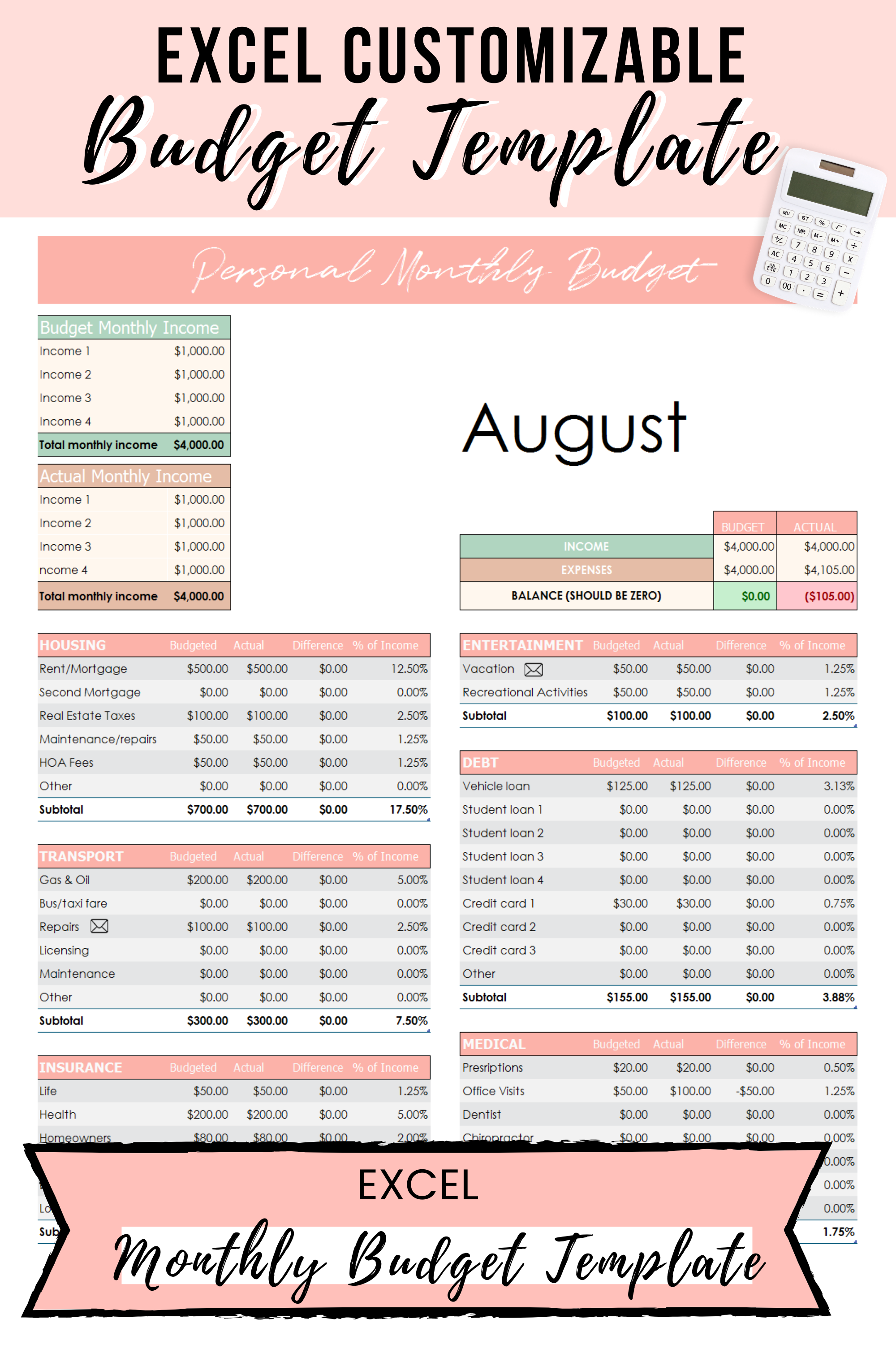 Excel Budget Template Dave Ramsey Budget Template Digital Etsy In 2020 Excel Budget Excel Budget Template Monthly Budget Template
