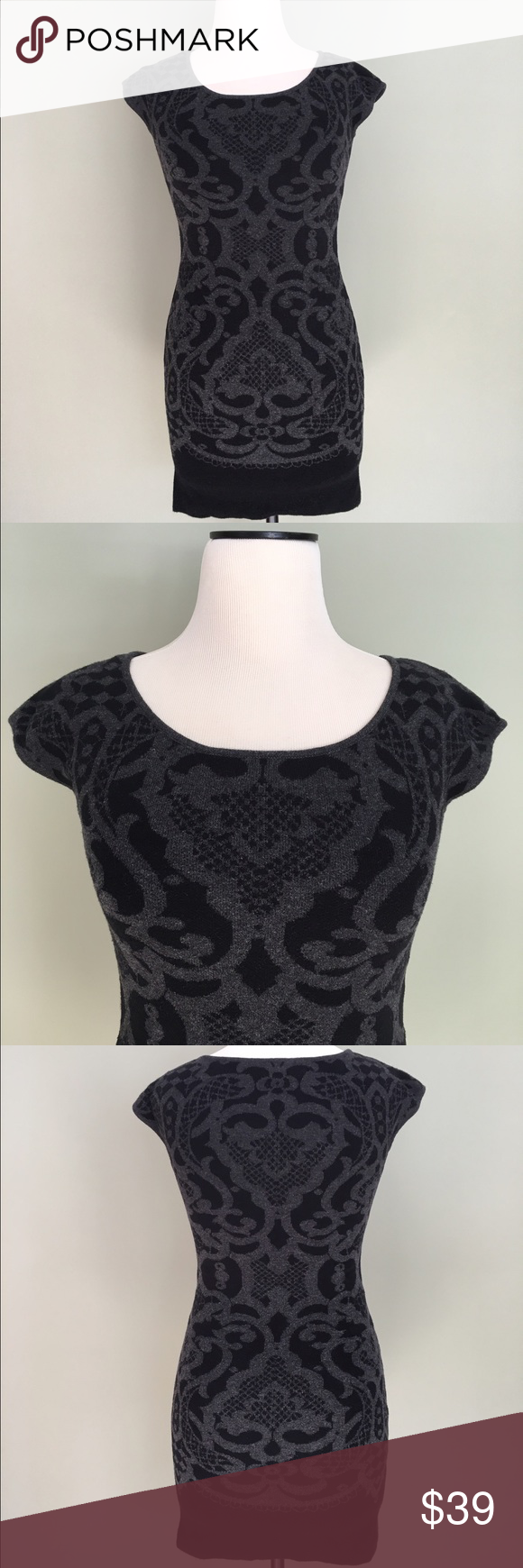 Max Studio Stretch Knit Damask Sweater Dress XS Gorgeous Max Studio black and gray stretch knit damask sweater dress. 60% cotton 40% rayon. Size XS. Excellent condition! Max Studio Dresses