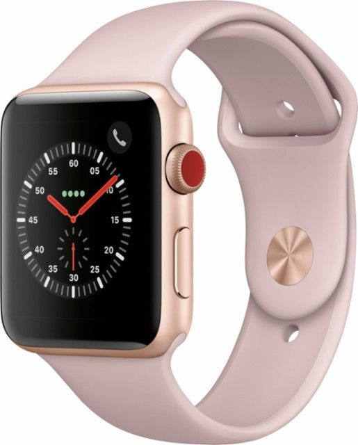 Best Buy Apple Watch Series 3 Gps Cellular 42mm Gold Aluminum Case With Pink Sand Sport Band Gold Aluminum Mqk32ll A Buy Apple Watch Apple Watch Apple Watch Series