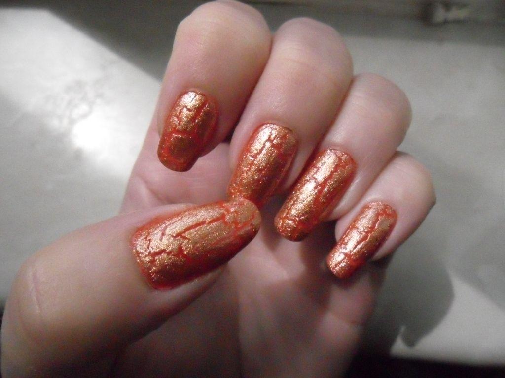 Orange base + gold crackle = lovely nails. | Shady Rogue Nail Art ...