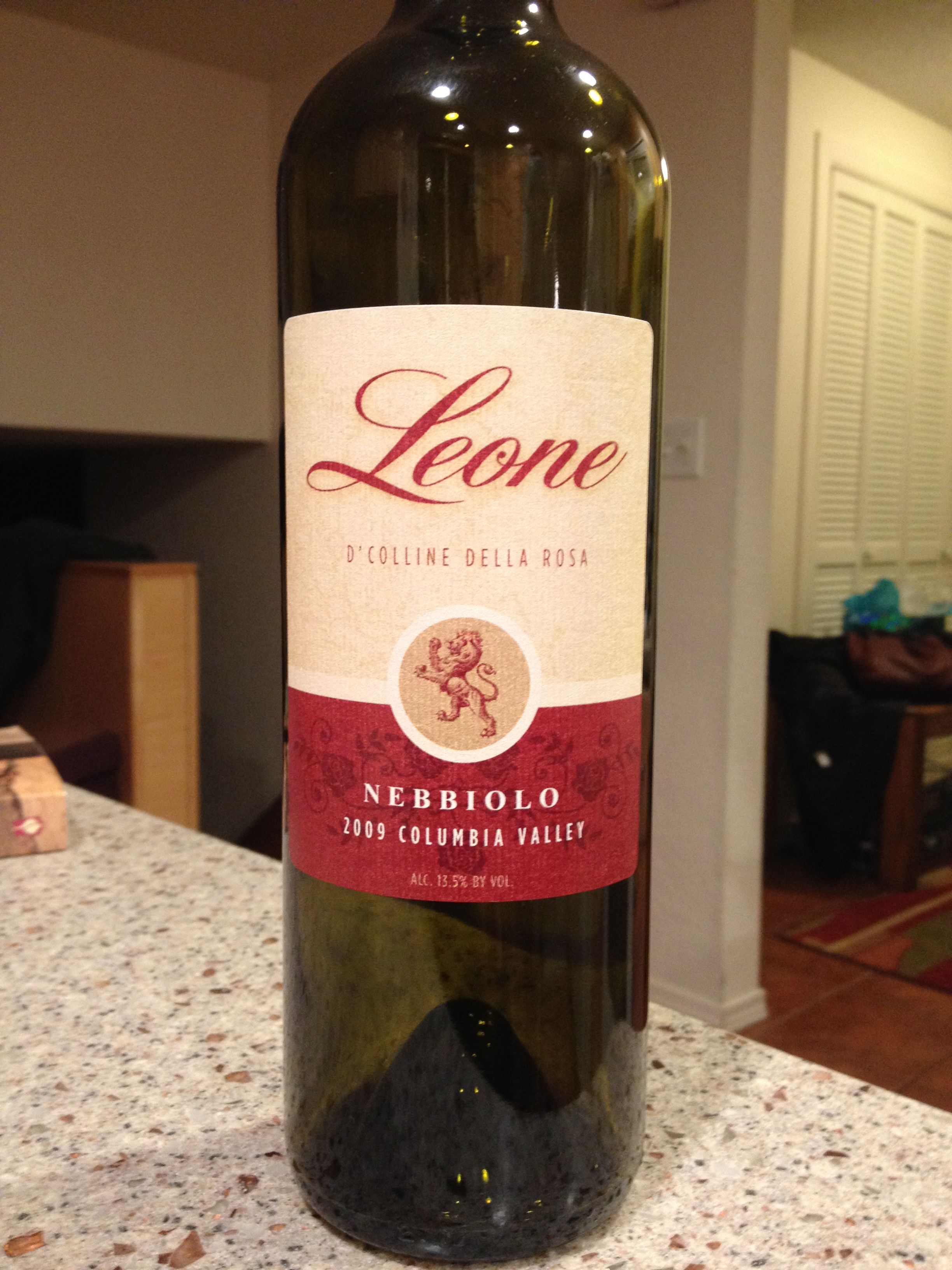 2009 Leone Nebbiolo Columbia Valley Light Garnet In Color With Notes Of Tar Violets Roses And Cherry On The Nose Rather Light I Wine Wine Cooler Tannin