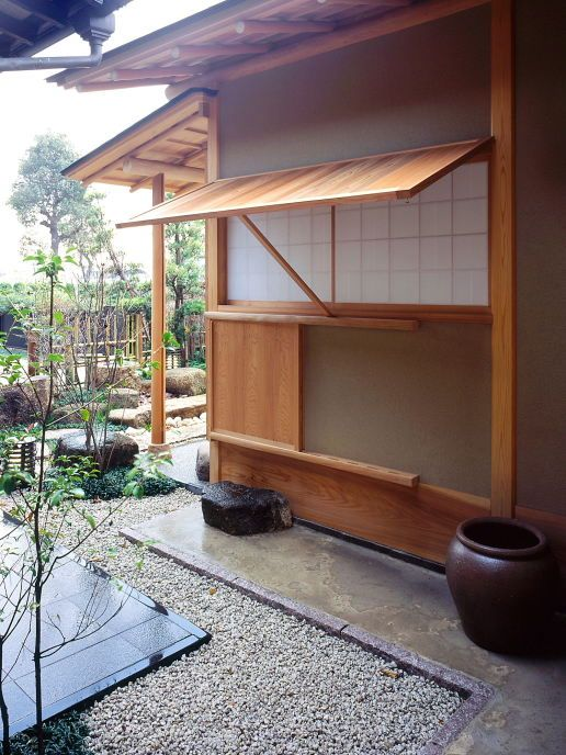 teahouse window and rustic shutter