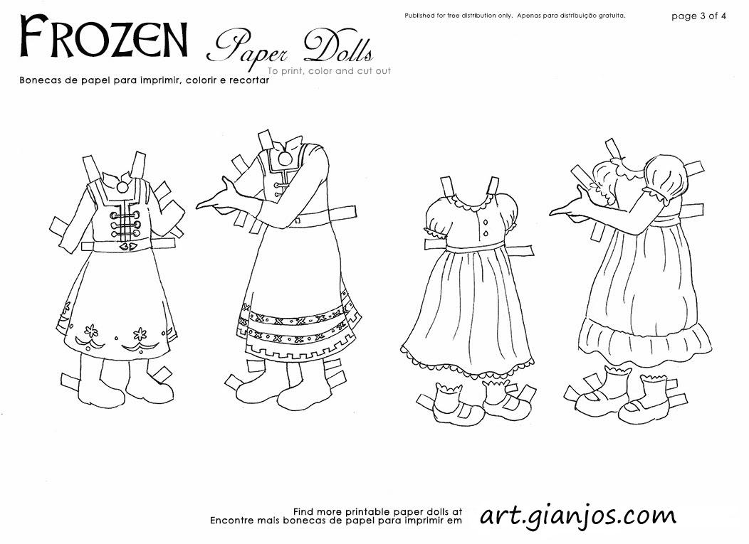Dolls De Colorir Frozen Bonecas Papel