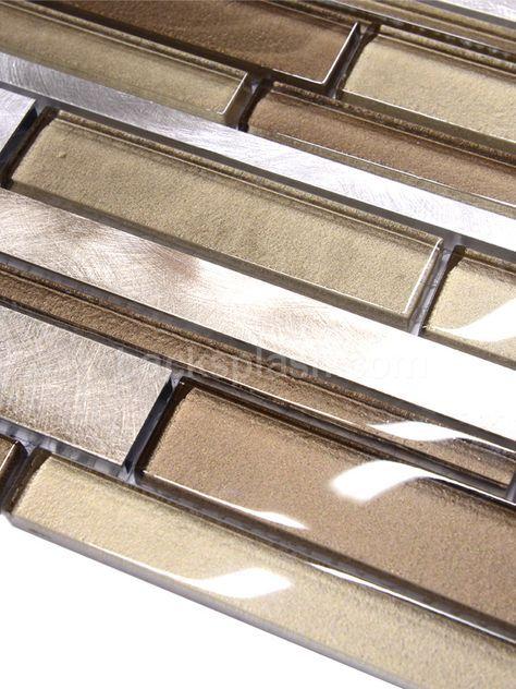 Brown Metal Glass Mixed Mosaic Kitchen Backsplash Tile Kitchen Tiles Backsplash Mosaic Backsplash Kitchen Brown Glass Tile
