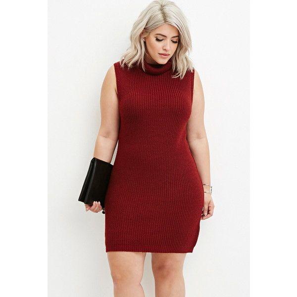 Forever 21 Plus Womens Plus Size Turtleneck Bodycon Sweater Dress