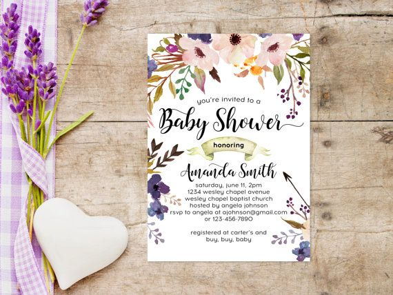 Printable Baby Shower Invitations 5x7, Watercolor Tribal Floral - baby shower invitations download