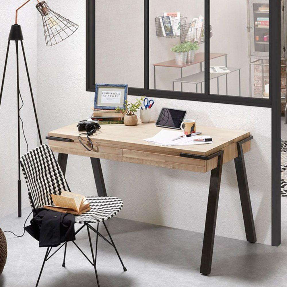 Bureau Design Bois Et Metal 2 Tiroirs Spike Deco Pinterest