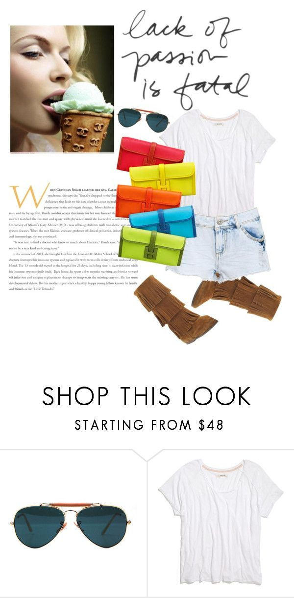 """""""spring"""" by linefreh ❤ liked on Polyvore featuring мода, Ray-Ban, Madewell, Minnetonka, Parisian и Hermès"""