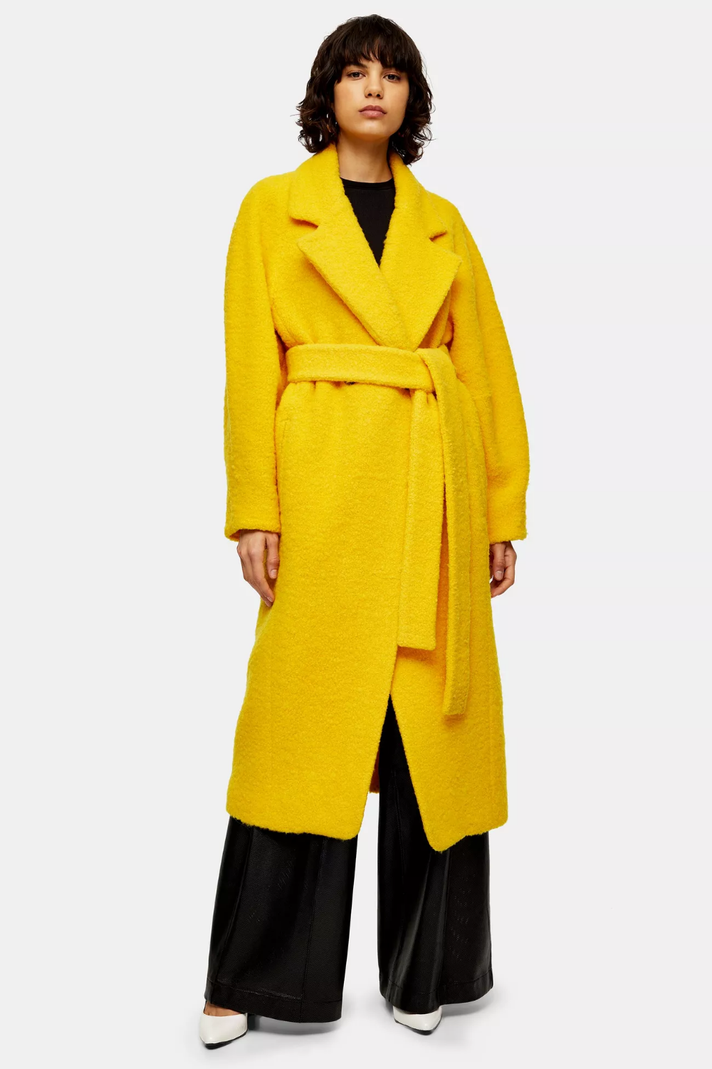 Yellow Wool Blend Boucle Coat By Boutique