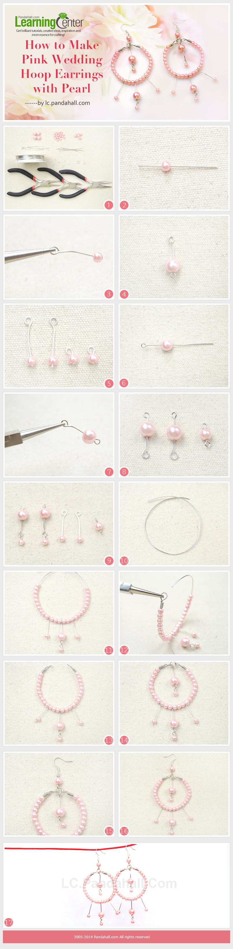How to Make Pink Wedding Hoop Earrings with Pearl ...