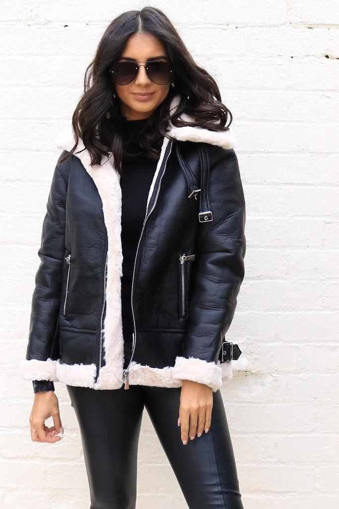 Oversized Faux Leather & Fur Aviator Biker Jacket in Black