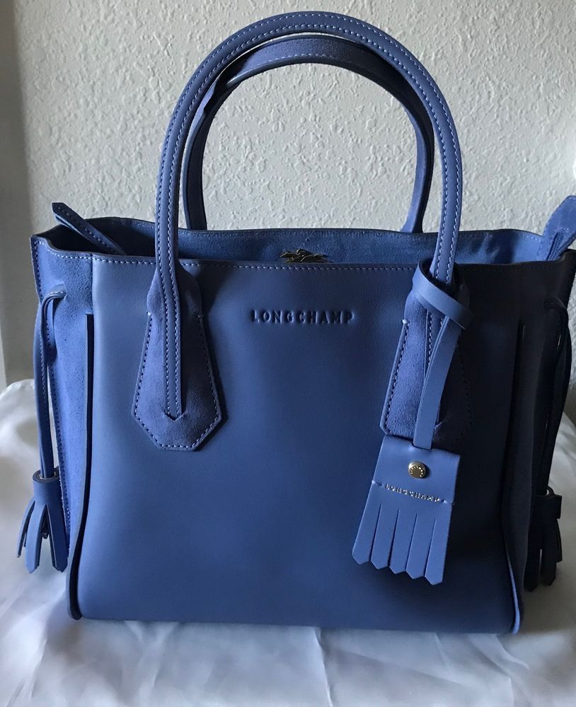 b7241eb1fd6 NWT Longchamp Small Penelope Fantaisie Leather Tote in Blue Mist ...