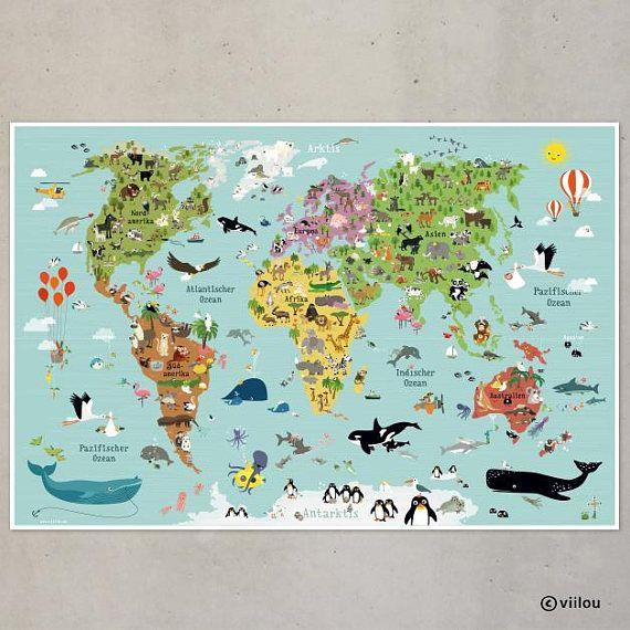 Kinderweltkarte Poster Kinderzimmer Illustration