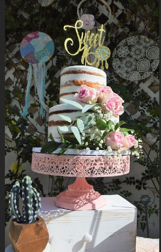 Outdoor boho party, sweet 16 birthday, boho cake stand ...