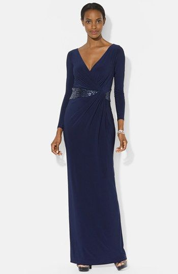 Lauren Ralph Lauren Embellished Jersey Gown Available At Nordstrom