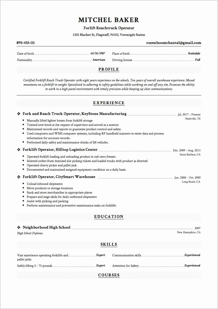 Certified forklift Operator Resume Fresh 12 Grocery