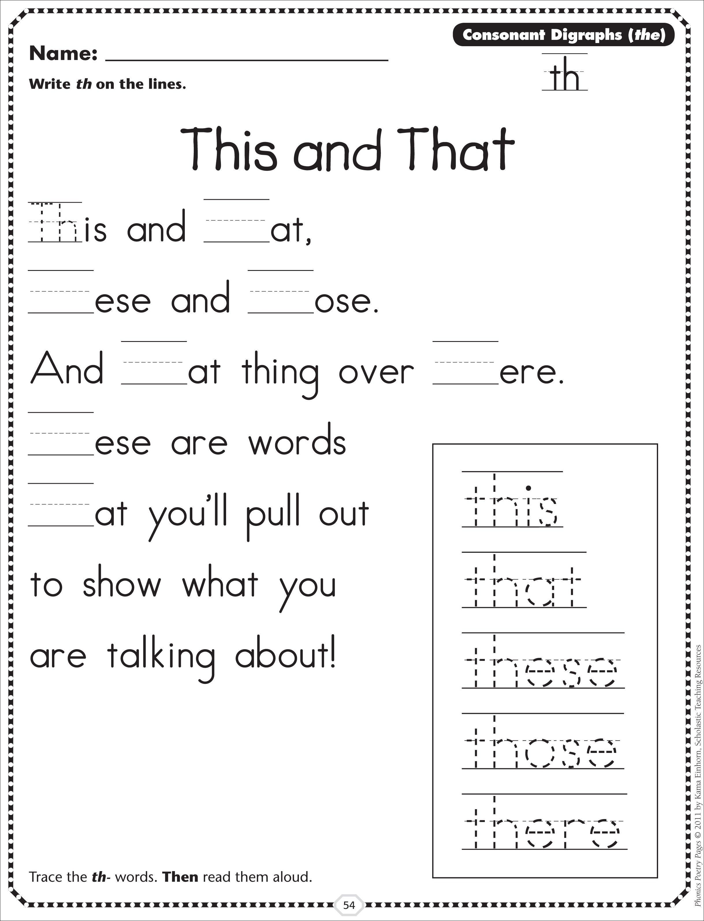 worksheet Th Digraph Worksheets sh poem digraph google search education literacy pinterest th worksheets and scholastic this that consonant digraphs phonics poetry page