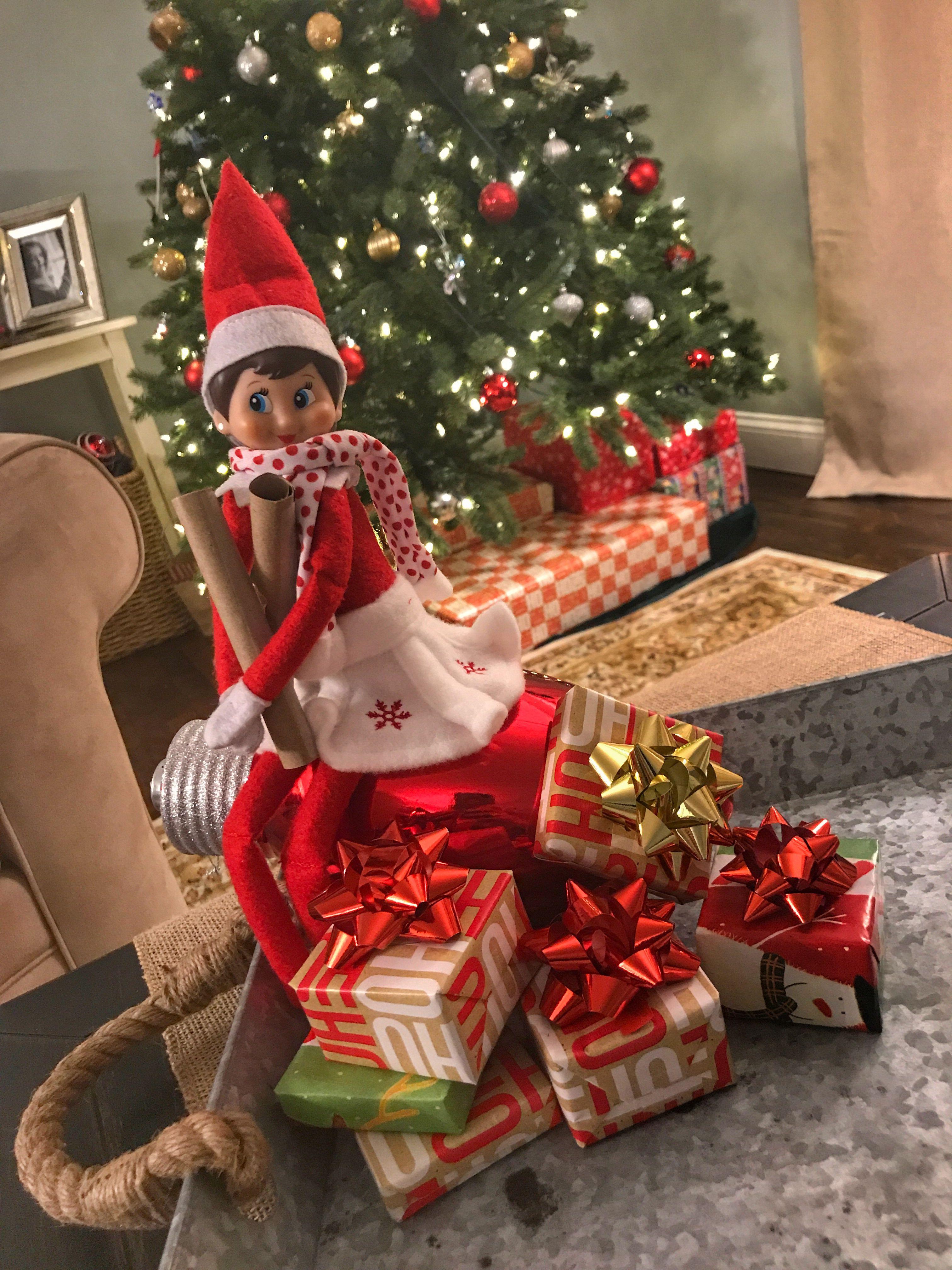 Elf On The Shelf Wrapping Presents Christmas Elf Birthday Elf