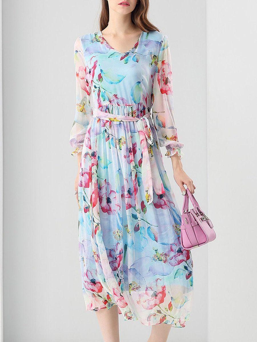 #AdoreWe #StyleWe Midi Dresses - UISWAN Casual Silk Floral Frill Sleeve Floral-print Midi Dress - AdoreWe.com