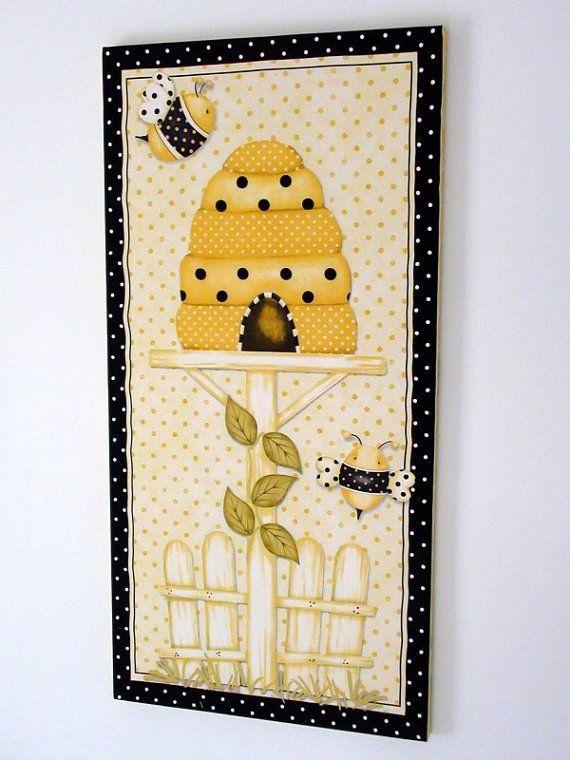 Country Decor. Kitchen wall decor. Yellow retro polka dot. Bee hive ...