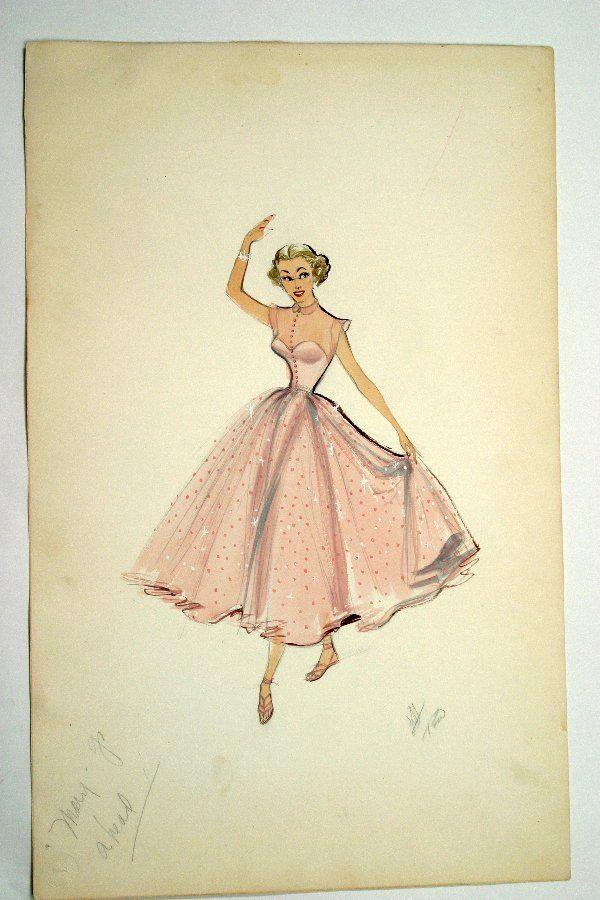 Edith Head Marge Champion Costume Sketch Lot 2407 Vintage Fashion Sketches Edith Head Fashion Fashion Illustration Vintage