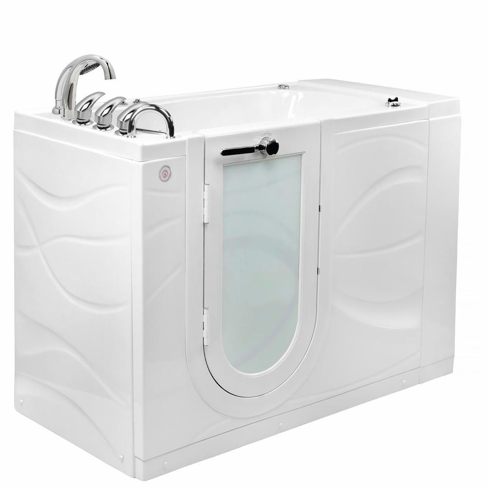 Ella Chi 52 In Walk In Whirlpool And Air Bath Bathtub In White W