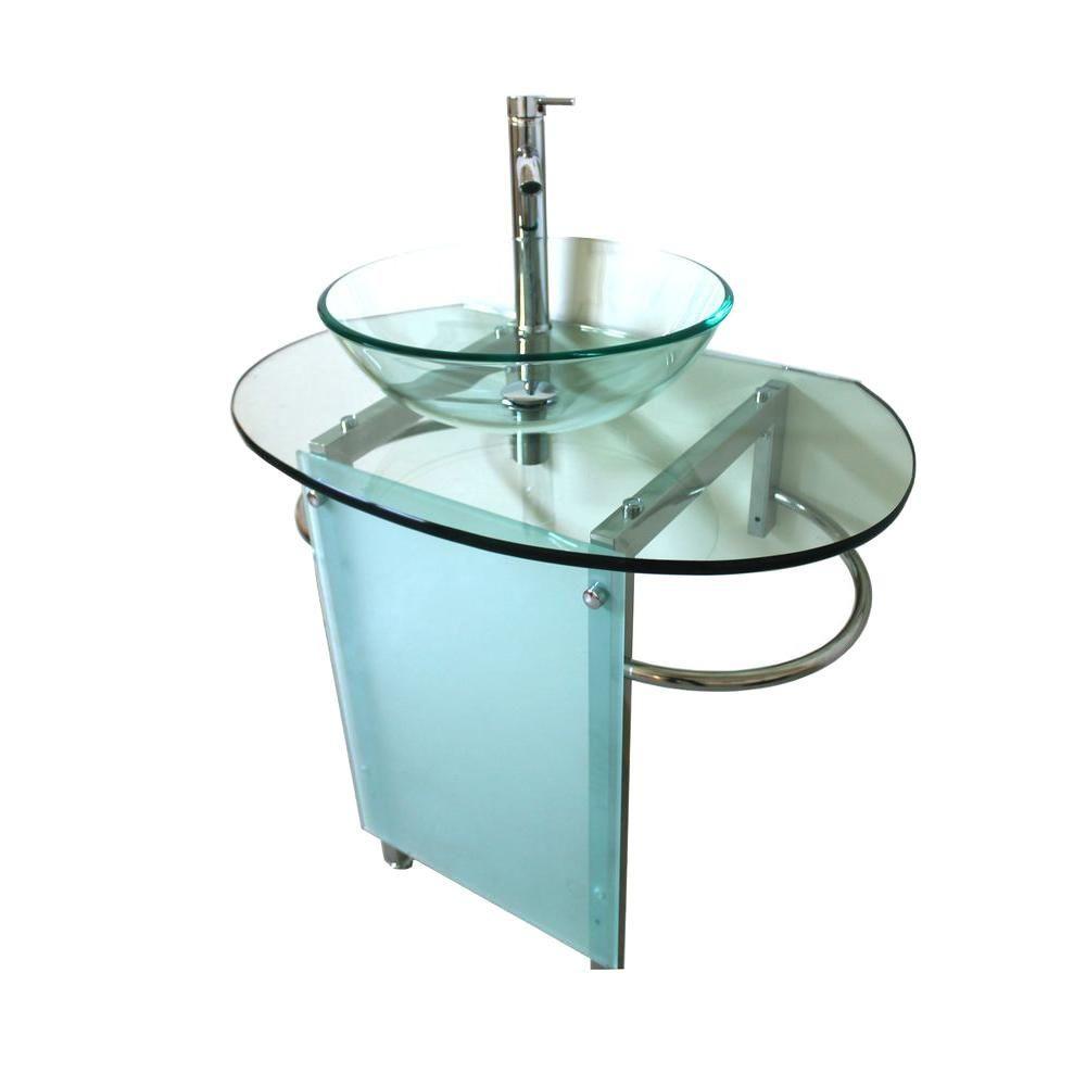Kokols Pedestal Combo Bathroom Sink In Clear Wf 20 The Home Depot Vanity Sink Sink Glass