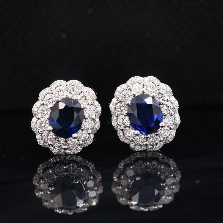 0.6 Carat Sapphires, 14K White Gold Earrings
