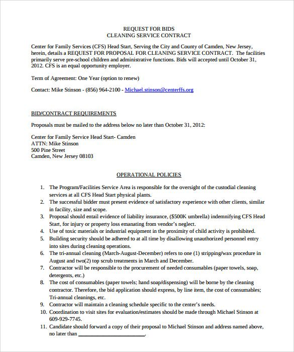 16+ Cleaning Contract Templates - Docs ...