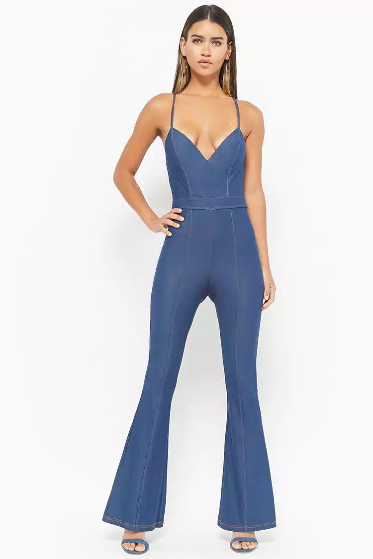 d8a3f34f441 Product Name Crisscross-Back Flare Denim Jumpsuit