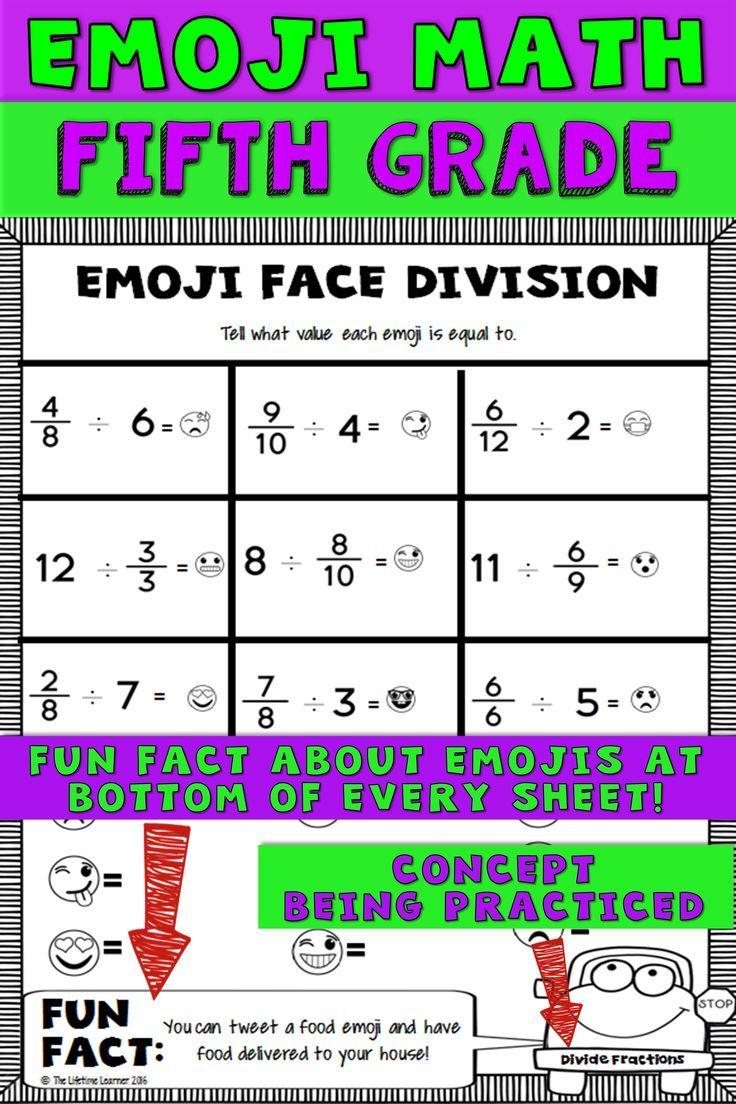 worksheet 5th Grade Morning Work Worksheets 5th grade emoji math homework center worksheets and morning work