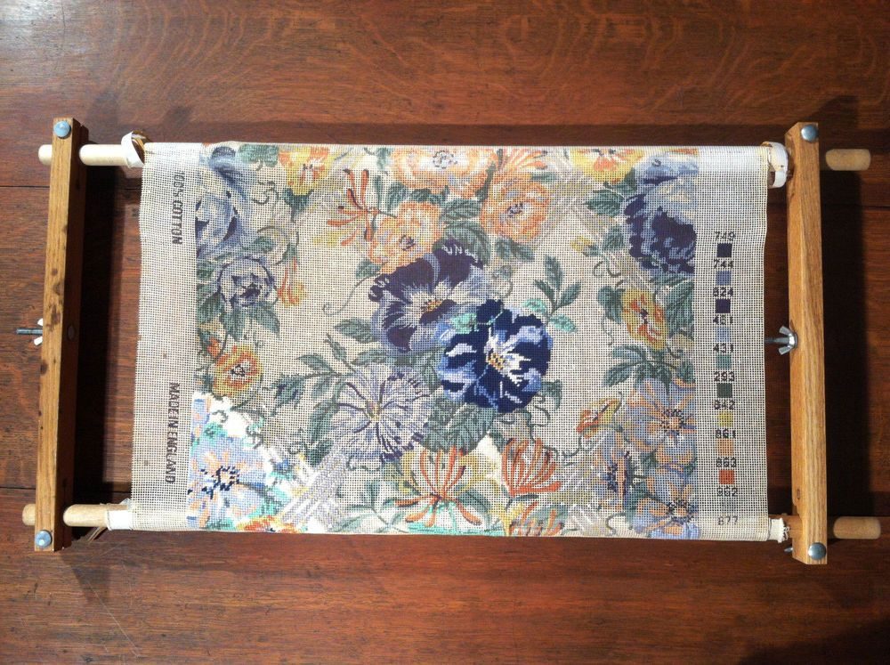 Ehrman Printed 22x18 Needlepoint Canvas Lisle Chintz Blue Floral ...