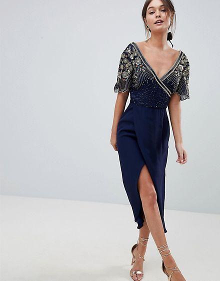 vestido midi con diseño cruzado y adornos julisa de virgos lounge