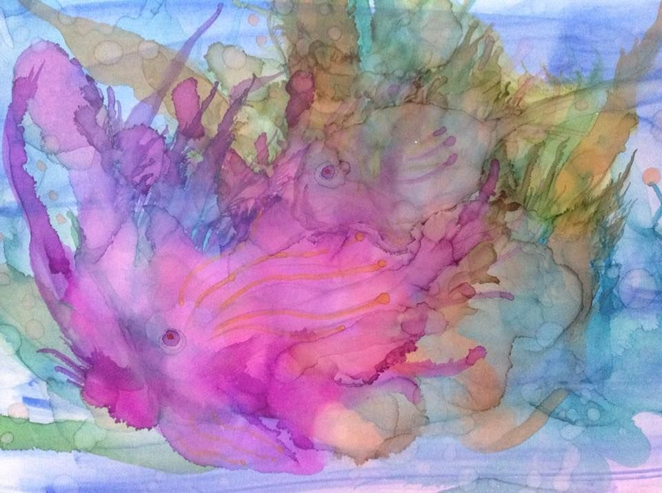 Alcohol Ink On Poster Board Underwater Adventure Poster Board
