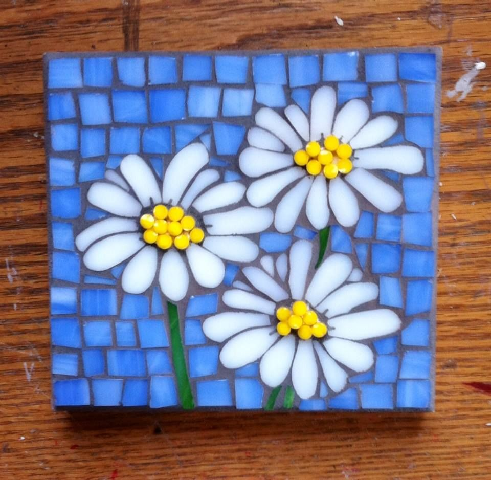 Stained Glass Mosaic Flowers Daisies Cathy Garner