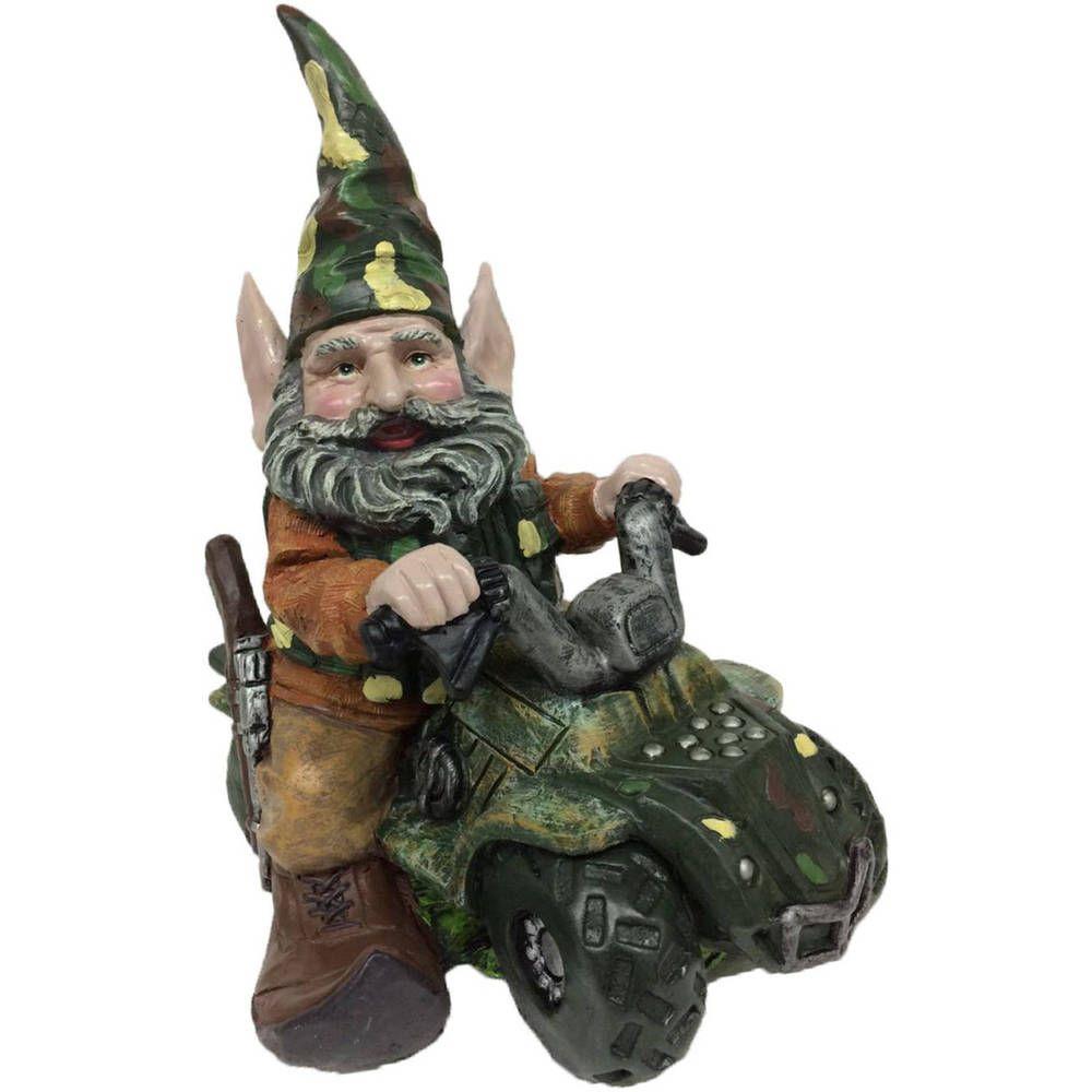 Garden Gnomes Hunter Gnome Riding Customized ATV Home Garden Decor Backyard  #HomeStyles