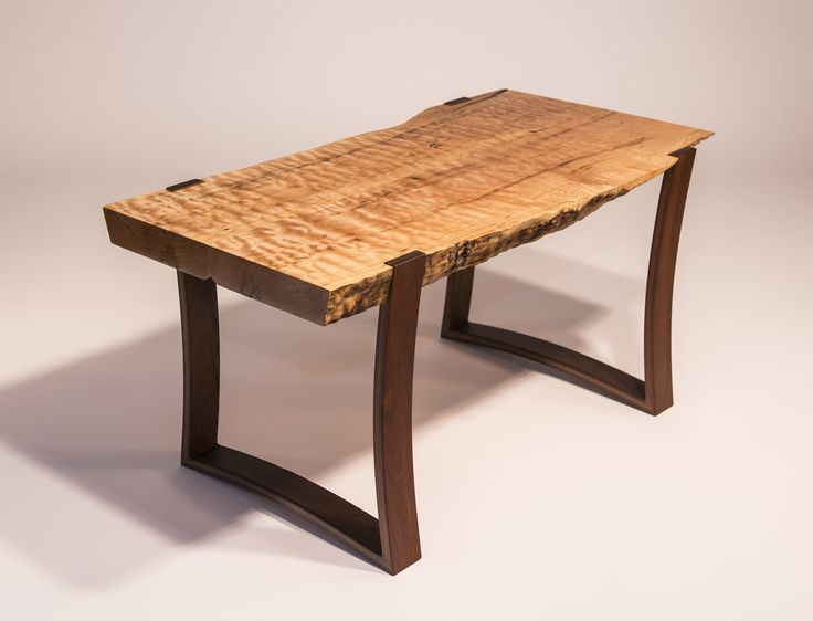 Live Edge Curly Maple Slab Coffee Table With Curved Ipe Legs