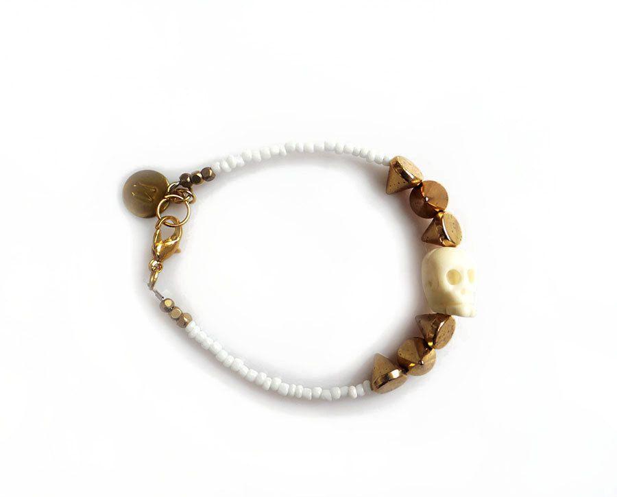 White Gold Skull Bracelet with Spikes, Initial Bracelet, Boho Skull Friendship Bracelet by AlinaandT on Etsy https://www.etsy.com/listing/219103571/white-gold-skull-bracelet-with-spikes