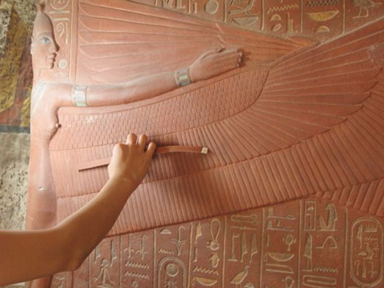 To prevent further damage to Tutankhamun's actual tomb, Factum Arte's has created an amazing facsimile that serves as a museum. The page has a high-res navigator