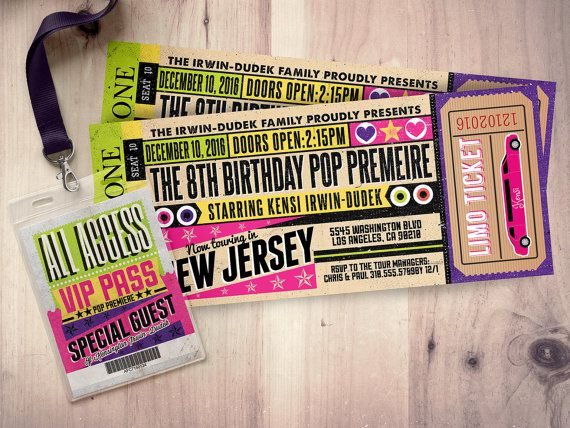 Concert Tickets Birthday Invitations Arts - Arts