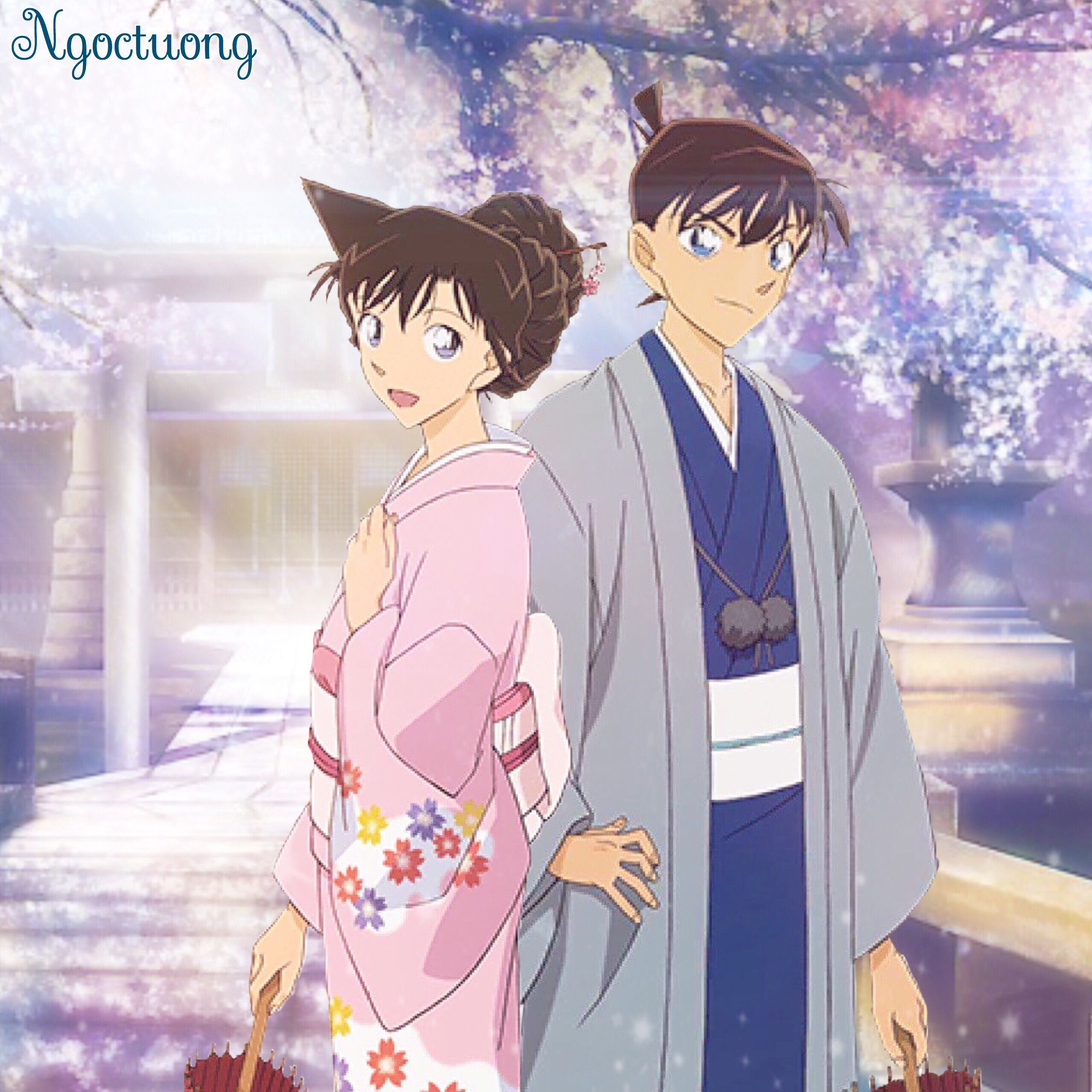 Shinichi and Ran Spring day