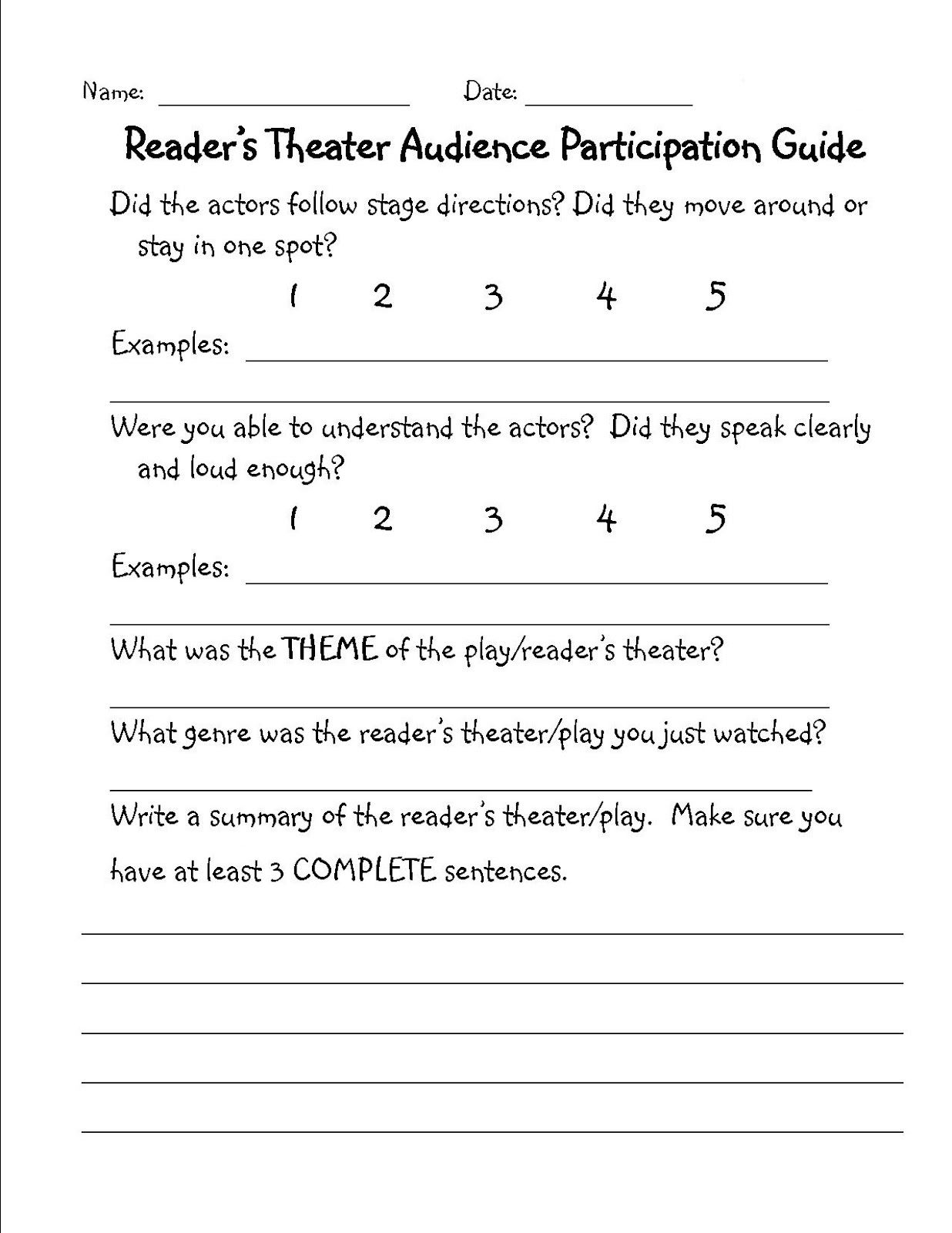 Reader S Theater Au Nce Feedback Paper