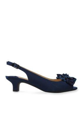 7e6a6abc22 J Rene233 Navy Leonelle Slingback | Products | Satin, Fashion ...