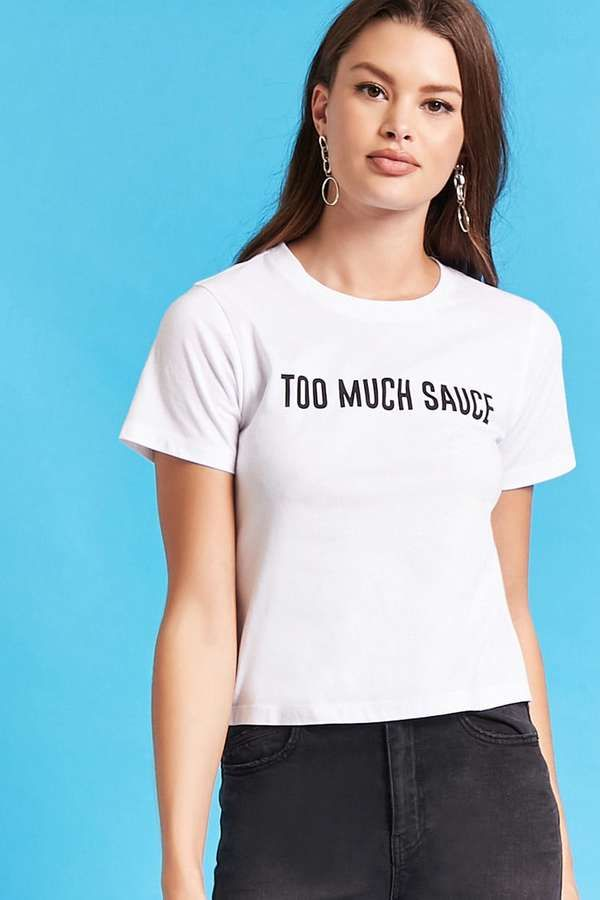 FOREVER 21 Taco Bell Too Much Sauce Graphic Tee Funny