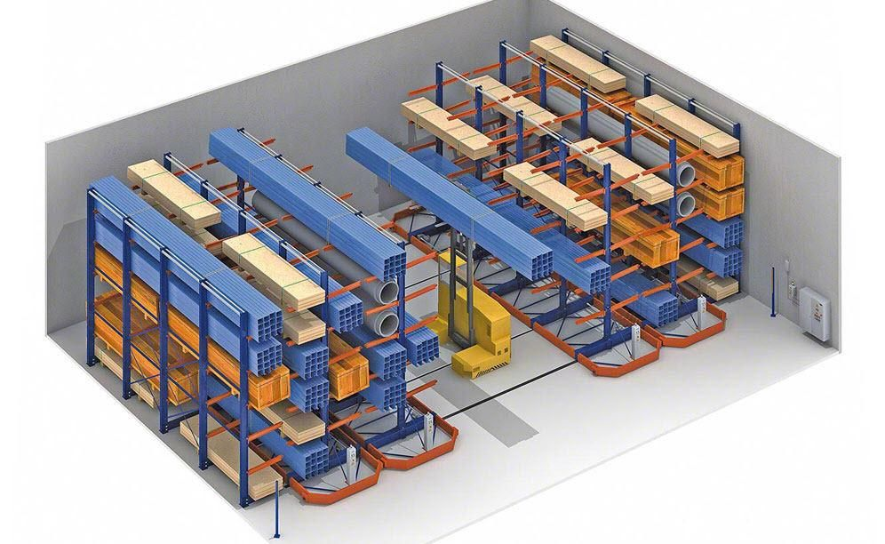Mecalux Uk.Example Of Mobile Cantilever Racking For Hepco Motion