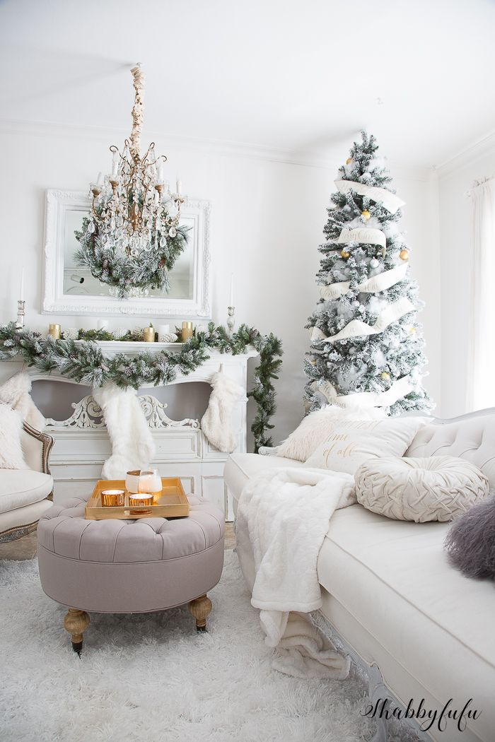 Elegant And Simple Christmas Living Room In White Christmas Decorations Living Room Christmas Living Rooms Christmas Decorations Bedroom Christmas decorations for living room