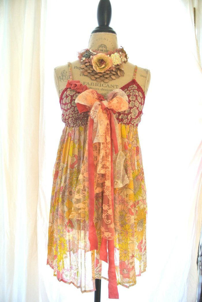 French Country Clothing Part - 47: Gypsy Cowgirl Slip Dress, Boho, French Country Sundress, Romantic, Tunic,  Womens