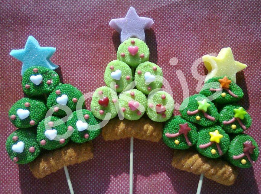 Arbolitos De Navidad Con Bombones Paletas De Bombon Navidad Paletas De Bombon Brochetas De Bombon