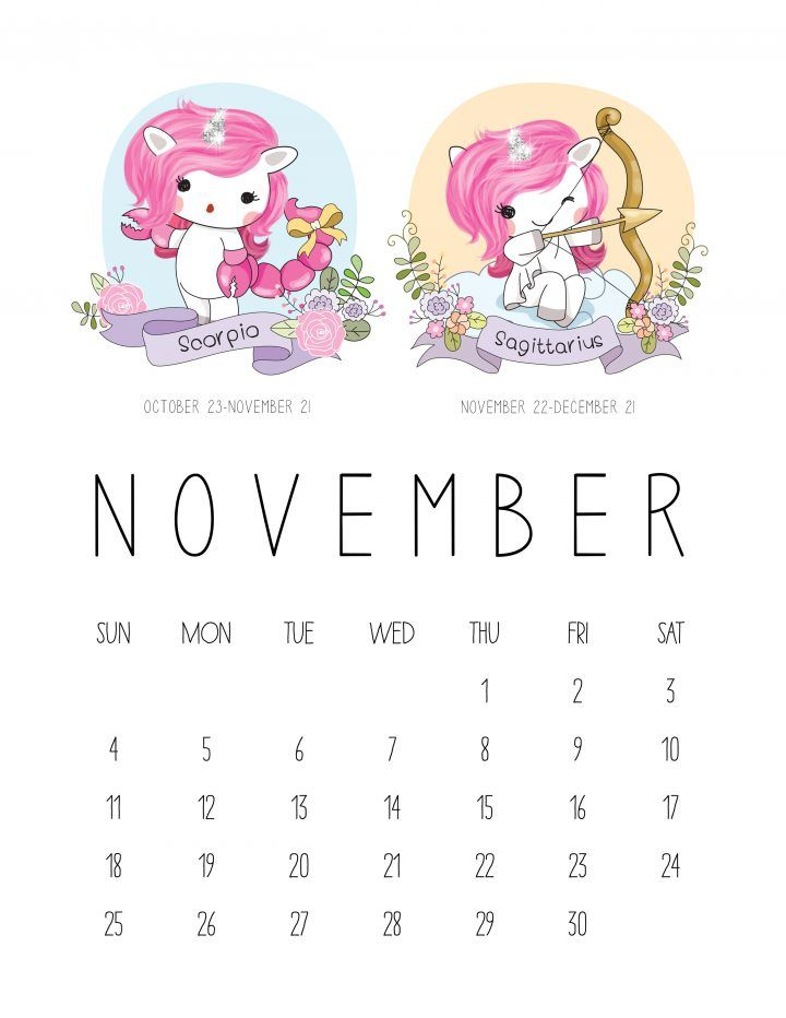 Free Printable  Zodiac Sign Kawaii Unicorn Calendar  Free